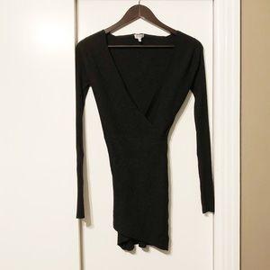 Black Sexy V-neck Bodycon Longsleeve Knit Dress
